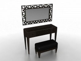 Vanity table with mirror and bench 3d model