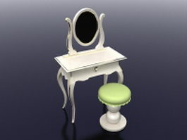 White vanity table with stool 3d model