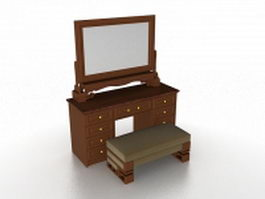 Traditional dressing table with bench 3d model