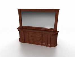 Dressing table with mirror 3d model