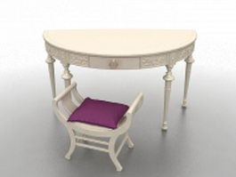Dressing table with stool 3d model