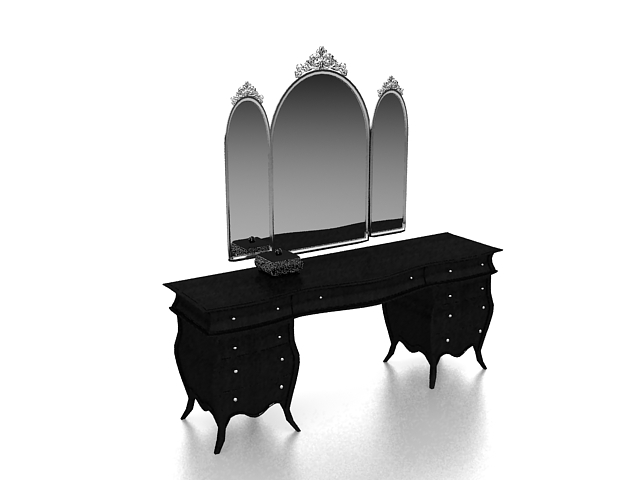 Black Makeup Table With Mirror 3d Model