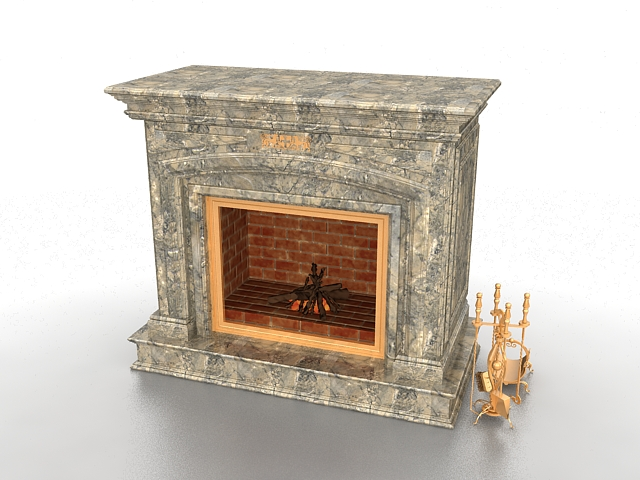 Brick fireplace 3d model
