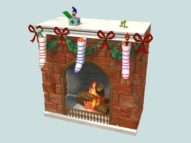 Fireplace Christmas Decorations 3d Model 3ds Max Files