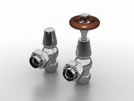 Hot water radiator valves 3d model