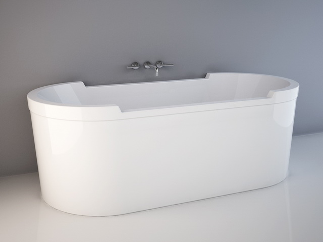 Nice Duravit Starck Free Standing Bathtub 3D Model Design. 180 X 80 Cm And 1900  X 900 Cm. Available 3D Object Format: .3DS (3D Studio)