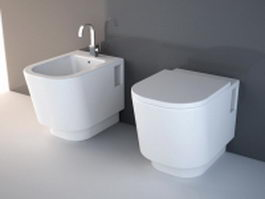 Bidet toilet sink combination 3d model