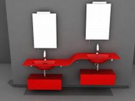 Red bathroom vanity unit 3d model