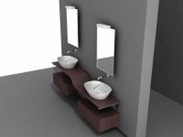 Double sink bathroom vanity 3d model