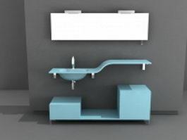 Blue bathroom vanity 3d model