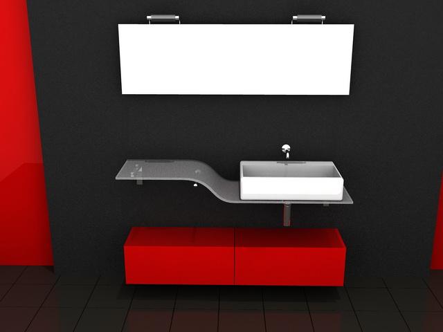 Red And Black Bathroom Vanity 3d Model