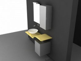 Vanity with wall cabinet 3d model