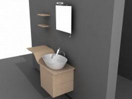 Modern minimalist bathroom vanity 3d model
