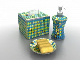 Bathroom soap dish and accessories 3d model