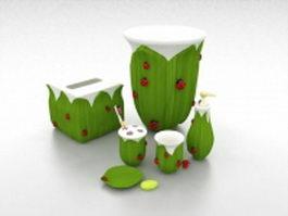Pottery bathroom accessories sets 3d model