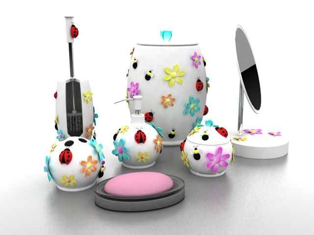 Sweet Girls Bathroom Accessories Sets D Model Ds Max Files Free - Bathroom accessories for girls
