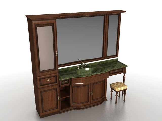 Bathroom Vanity With Wall Tower 3d Model 3ds Max Files Free Download Modeling 26724 On Cadnav