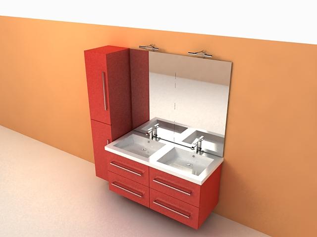 Red Bathroom Vanity Cabinets 3d Model 3ds Max Files Free Download Modeling 26732 On Cadnav