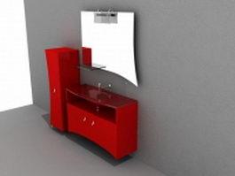 Red bathroom vanity with mirror 3d model