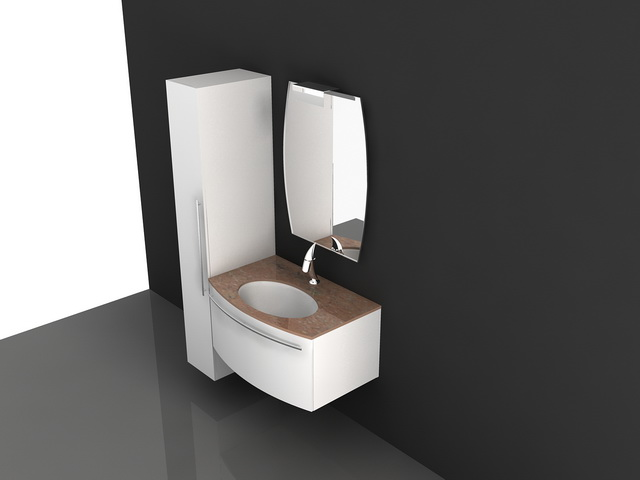 Wall mount white bathroom vanity 3d model 3d studio 3ds for 3d bathroom drawing