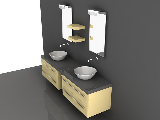 Double Bowl Sink Bathroom Vanity 3d Model 3d Studio 3ds
