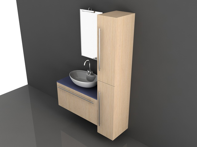 Single Sink Vanity With Cabinet 3d Model 3d Studio 3ds Max Autocad Drawing Files Free Download