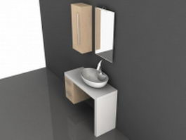 White bathroom vanity with shelf 3d preview
