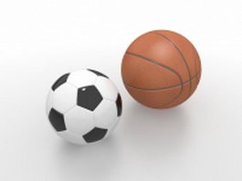 Basketball and football 3d model