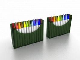 Watercolor brush pens 3d model