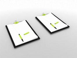 Memo pad with pen 3d model