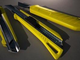 Yellow utility knife 3d model