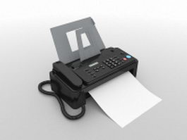 Black fax machine 3d model