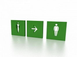 Office exit sign 3d model