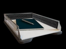 File tray with notepad and pen 3d model