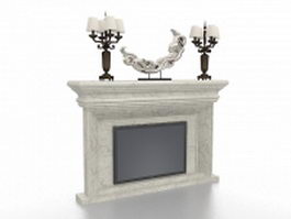 White marble fireplace with candlestick 3d model