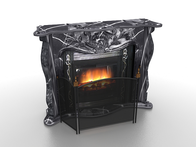 Black Marble Fireplace With Screen 3d Model 3ds Max Files Free
