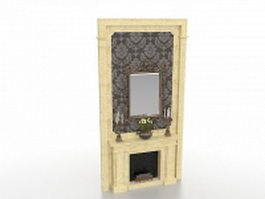 Fireplace wall unit design 3d model