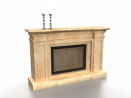 Fireplace with candlesticks 3d model