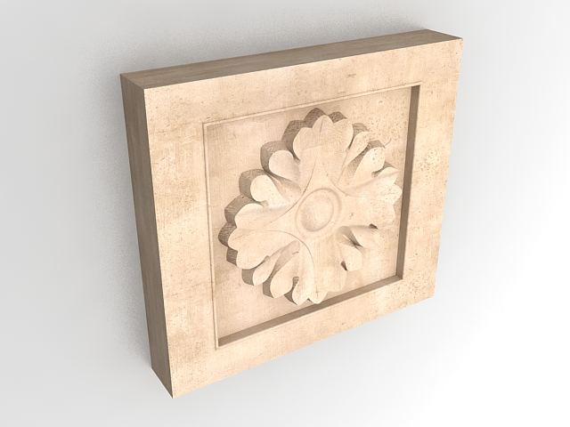 Wall Decoration 3d Model Free Download : Square medallion wall art d model ds max files free