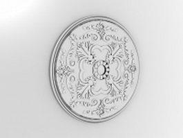 Decorative metal wall medallion 3d model