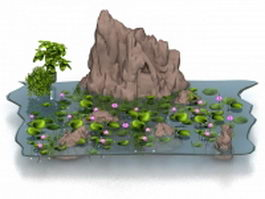 Lotus pond and rockery 3d model