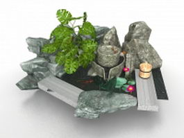 Chinese rock garden design 3d model
