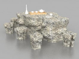 Garden stone table with stools 3d model