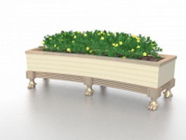 Wooded flower bed box 3d model