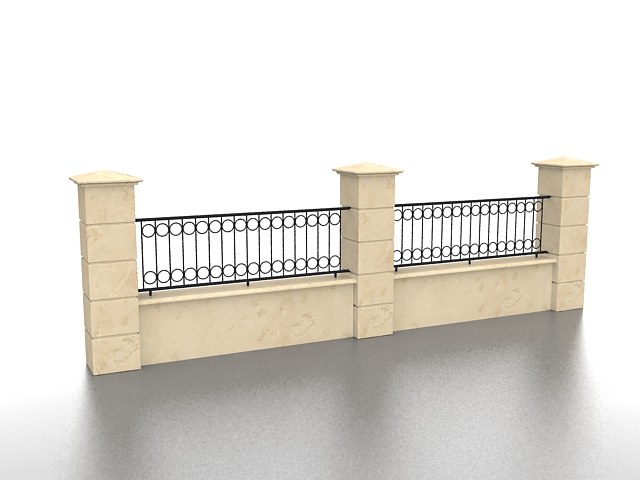 Brick and wrought iron fence 3d model 3ds max files free for 3d fence