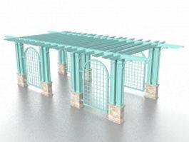 Blue pergola 3d model