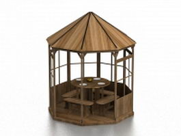 Wood pavilion with table 3d model