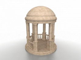 Round concrete gazebo 3d model
