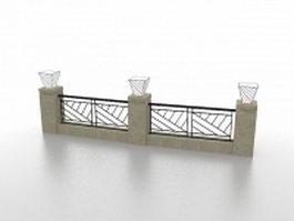 Garden railing fencing 3d model
