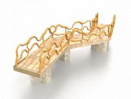 Garden pond bridge 3d model